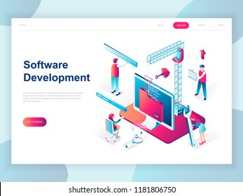 Modern flat design isometric concept of Software Development for banner and website. Isometric landing page template. Developing programming and coding technologies. Vector illustration.
