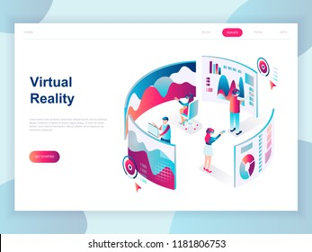 Modern flat design isometric concept of Virtual Augmented Reality for banner and website. Isometric landing page template. People wearing headset with touching vr interface. Vector illustration.