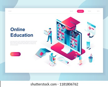 Modern flat design isometric concept of Online Education for banner and website. Isometric landing page template. Online training courses, specialization, university studies. Vector illustration.