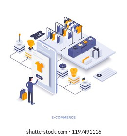 Modern flat design isometric concept of E-Commerce for website and mobile website. Landing page template. Easy to edit and customize. Vector illustration