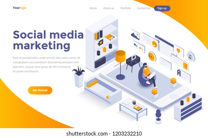 Modern flat design isometric concept of Social Media marketing for website and mobile website. Landing page template. Easy to edit and customize. Vector illustration