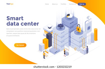 Modern flat design isometric concept of Smart data center for website and mobile website.Young people work together. Landing page template. Easy to edit and customize. Vector illustration