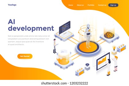 Modern flat design isometric concept of Artificial Intelligence development for website and mobile website. Landing page template. Easy to edit and customize. Vector illustration