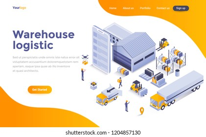 Modern flat design isometric concept of Warehouse Logistic for website and mobile website. Landing page template. Easy to edit and customize. Vector illustration