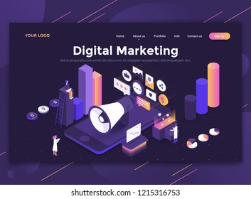 Modern flat design isometric concept of Digital Marketing for website and mobile website. Landing page template, dark theme. Easy to edit and customize. Vector illustration