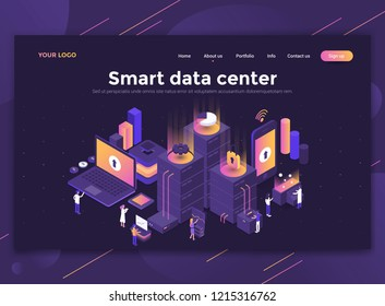 Modern flat design isometric concept of Smart data center for website and mobile website. Landing page template, dark theme. Easy to edit and customize. Vector illustration