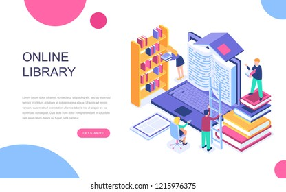 Modern flat design isometric concept of Online Library for banner and website. Isometric landing page template. Technology and literature, digital culture on media library. Vector illustration.