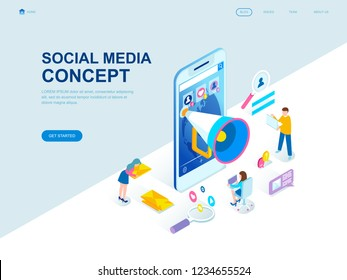 Modern flat design isometric concept of Social Media decorated people character for website and mobile website development. Isometric landing page template. Vector illustration.