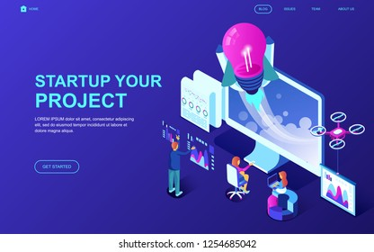 Modern flat design isometric concept of Startup Your Project decorated people character for website and mobile website development. Isometric landing page template. Vector illustration.