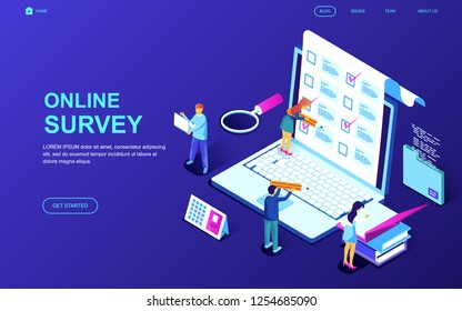 Modern flat design isometric concept of Online Survey decorated people character for website and mobile website development. Isometric landing page template. Vector illustration.