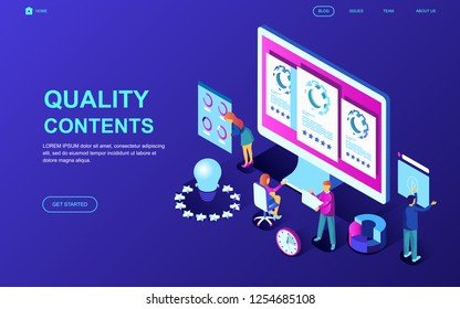 Modern flat design isometric concept of Quality Content decorated people character for website and mobile website development. Isometric landing page template. Vector illustration.