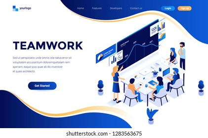 Modern flat design isometric concept of Teamwork for website and mobile website. Landing page template. Easy to edit and customize. Vector illustration