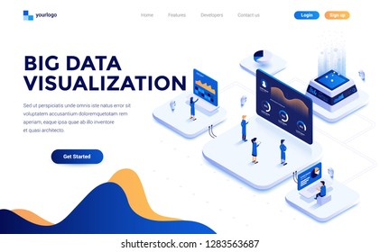 Modern flat design isometric concept of Big Data Visualization tool for everyone for website and mobile website. Landing page template. Easy to edit and customize. Vector illustration