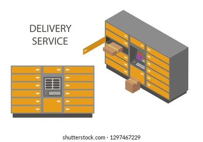 Modern flat design isometric concept of delivery service for website and mobile website with delivery locker mail box. Landing page template. Easy to edit and customize. Vector illustration.
