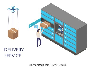 Modern flat design isometric concept of delivery service for website and mobile website with delivery locker mail box, man, dron.Landing page template. Easy to edit and customize. Vector illustration.