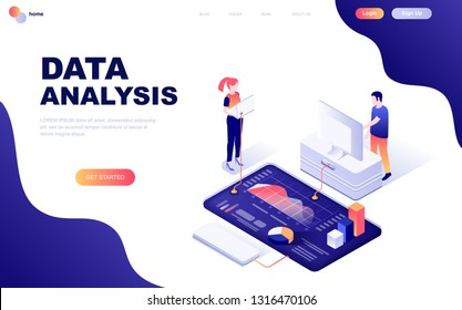 Modern flat design isometric concept of Auditing, Data Analysis decorated people character for website and mobile website development. Isometric landing page template. Vector illustration.