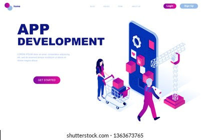 Modern flat design isometric concept of App Development decorated people character for website and mobile website development. Isometric landing page template. Vector illustration.