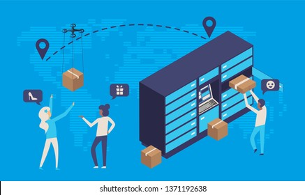 Modern flat design isometric concept of delivery service or online shopping with people,box,dron,pay online,delivery locker mail box and world map. Easy to edit and customize. Vector illustration