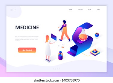 Modern flat design isometric concept of Medicine and Healthcare decorated people character for website and mobile website development. Isometric landing page template. Vector illustration.