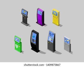 Modern flat design isometric concept of Payment terminal, Digital touch screen, interactive kiosk, vector design