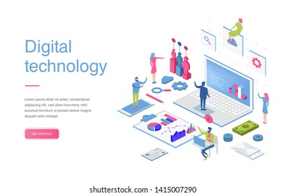 Modern flat design isometric concept of Digital Marketing for banner and website. Isometric landing page template. Business analysis, content strategy and management. Vector illustration