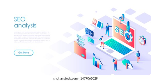 Modern flat design isometric concept of Seo Analysis for banner and website. Isometric landing page template. Teamwork project, web agency and new company project. Vector illustration.