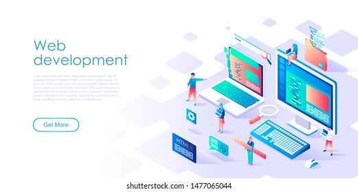 Modern flat design isometric concept of Web Development for banner and website. Isometric landing page template. Teamwork project, web agency and new company project. Vector illustration.