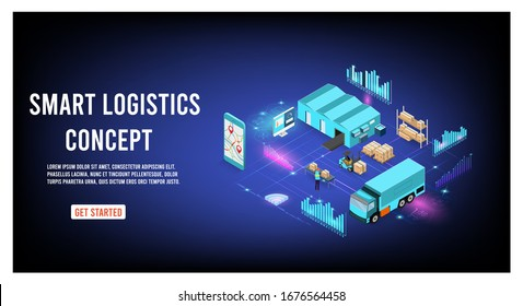 Modern flat design isometric concept of Smart Logistics with global logistics partnership for website and mobile website.  Easy to edit and customize. Vector illustration