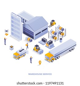 Modern flat design isometric illustration of Warehouse service. Can be used for website and mobile website or Landing page. Easy to edit and customize. Vector illustration