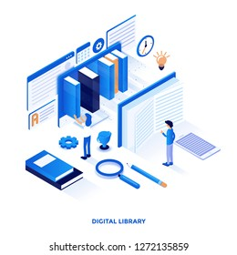 Modern flat design isometric illustration of Digital Library. Can be used for website and mobile website or Landing page. Easy to edit and customize. Vector illustration