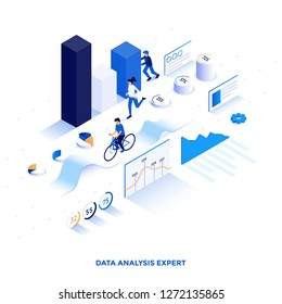 Modern flat design isometric illustration of Data Analysis Expert. Can be used for website and mobile website or Landing page. Easy to edit and customize. Vector illustration