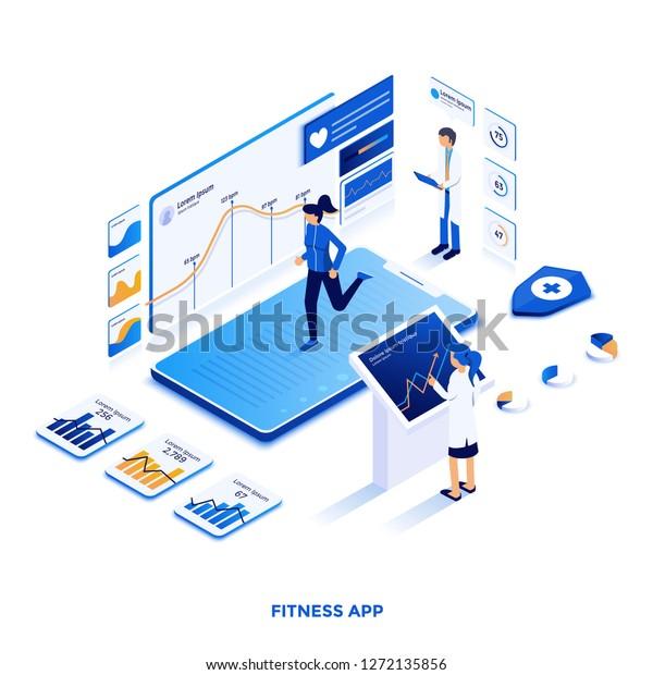 Modern Flat Design Isometric Illustration Fitness Stock