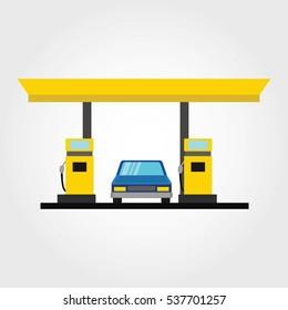 Modern flat design oil and gas filling station. vector illustration