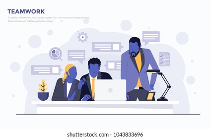 Modern Flat design people and Business concept for Teamwork, easy to use and highly customizable. Modern vector illustration concept, isolated on white background.