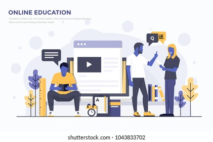 Modern Flat design people and Business concept for Online Education, easy to use and highly customizable. Modern vector illustration concept, isolated on white background.