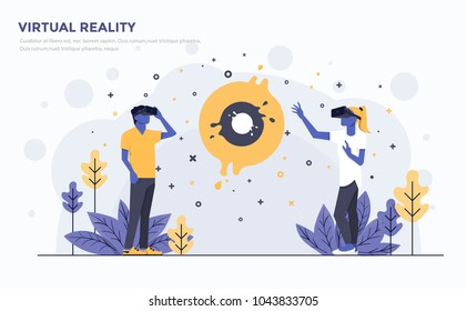 Modern Flat design people and Business concept for Virtual Reality, easy to use and highly customizable. Modern vector illustration concept, isolated on white background.