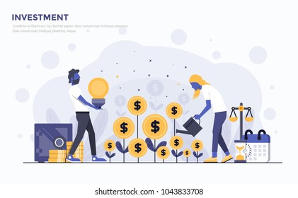 Modern Flat design people and Business concept for Investment, easy to use and highly customizable. Modern vector illustration concept, isolated on white background.