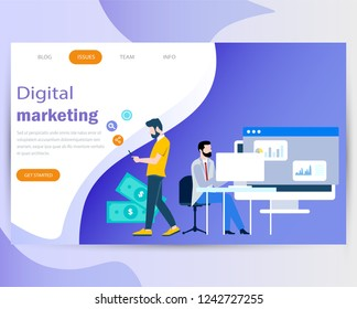 Modern Flat design people and Business concepts for digital marketing, are easy to use and highly customizable. Modern vector illustration concept, isolated on a purple and white background.