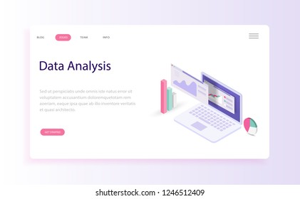 Modern Flat design people and Business concepts for data analysis, are easy to use and highly customizable. Modern vector illustration concept, isolated on orange and white background.