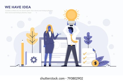 Modern Flat design people and Business concept for We have idea, easy to use and highly customizable. Modern vector illustration concept, isolated on white background.