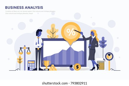 Modern Flat design people and Business concept for website and app development, easy to use and highly customizable. Modern vector illustration concept, isolated on white background.