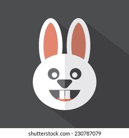 Modern Flat Design Rabbit Icon Vector Illustration