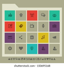 Modern flat design social network icons