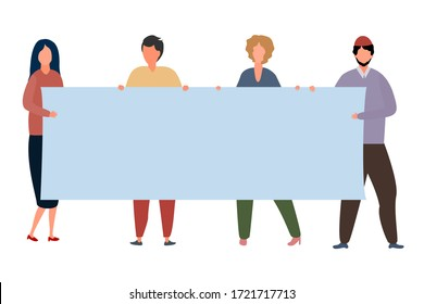 Modern flat design template with people poster work isolated on white background. Crisis, unemployment, activism conflict concept for banner.  Cartoon style Modern isolated vector illustration