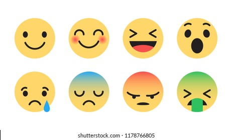 Modern Flat Design Vector Facebook Emoji Set with Different Reactions for Social Network Isolated on White Background