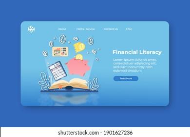 Modern flat design vector illustration. Financial Literacy Landing Page and Web Banner Template. Financial Education, Accounting, e business school, Saving Money, Webinar.