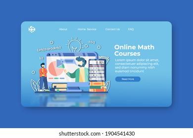 Modern flat design vector illustration. Online Math Courses Landing Page and Web Banner Template. Online Education, digital training, E-Learning, Distance Education, Home Schooling,Webinar.