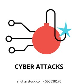 Modern flat design vector illustration, cyber attacks icon, for graphic and web design