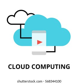 Modern flat design vector illustration, cloud computing icon, for graphic and web design