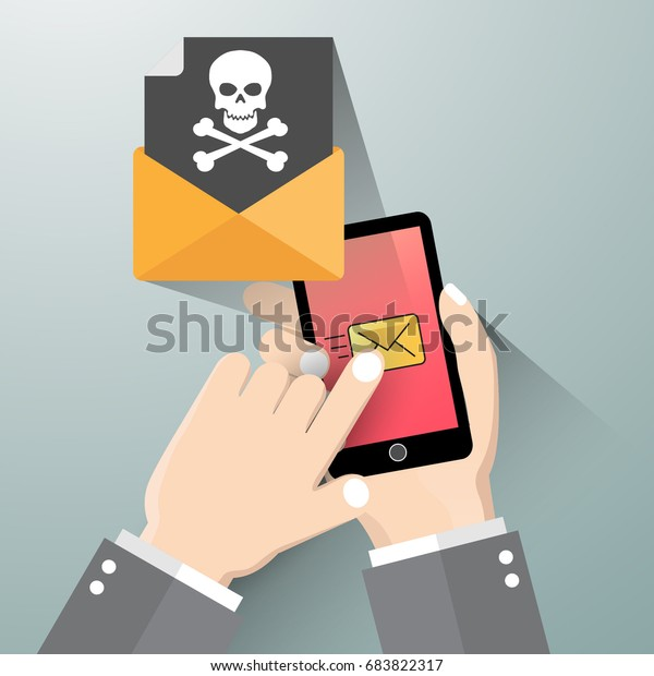 Modern flat design vector illustration, Hand holding smartphone with message alert   on screen. Threats, mobile malware, spam messages, fraud, sms spam concepts.